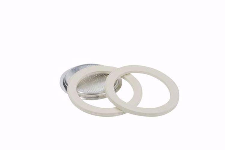 Afbeeldingen van Bialetti ringen 3 stuks + 1 filterplaatje Moka Aluminium  1 kops