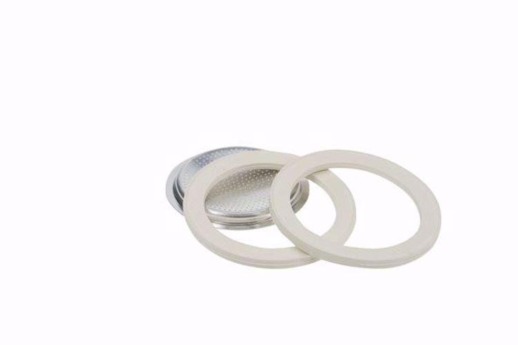 Afbeeldingen van Bialetti ringen 3 stuks + 1 filterplaatje  Moka Aluminium 2 kops